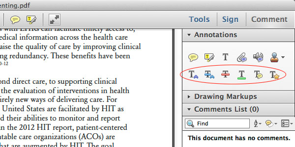 Adobe Acrobat Commenting Tools key commenting tools