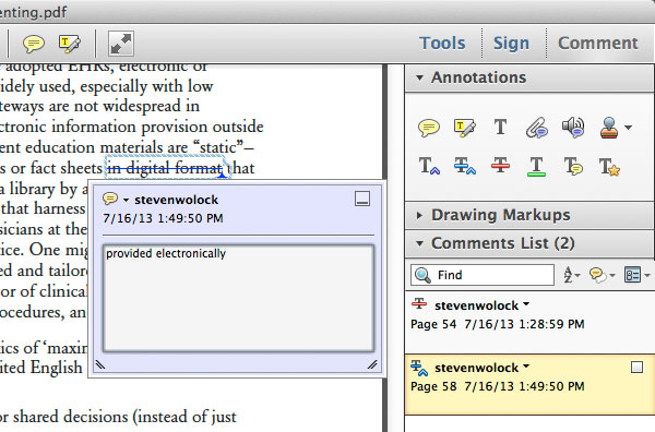 Adobe Acrobat Commenting Tools replace text tool