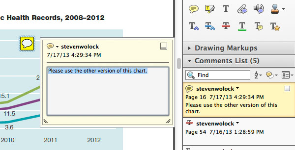 Adobe Acrobat Commenting Tools note tool example