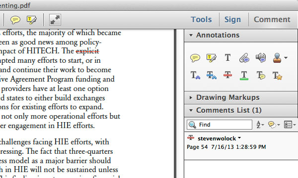 Adobe Acrobat Commenting Tools strikethrough tool for deleting text